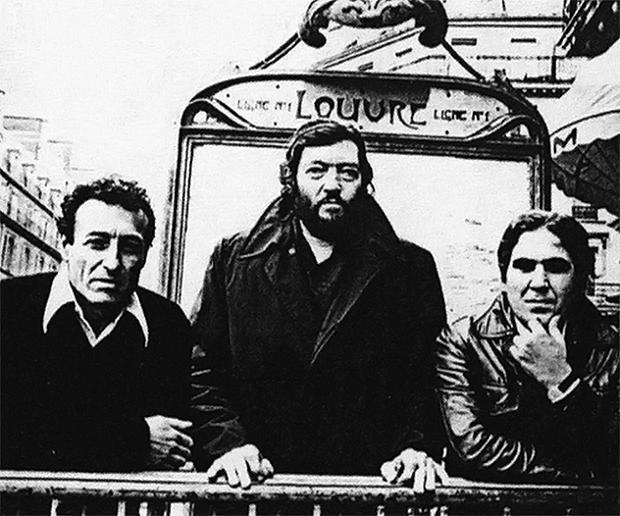 Edgardo Cantón, Julio Cortázar y Juan Cedrón en París